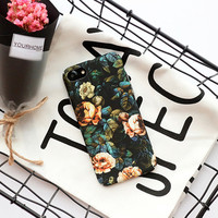 Black with Peach and Blue Floral case For iPhone 6, 7 Models