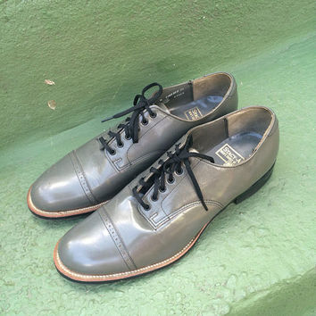 Original Vintage Mens Shoes Stacy Adams Men's Vintage Lace up  Leather Gray swing rockabilly