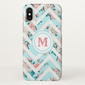 Blue Floral Monogram Chevron Pattern iPhoneX Case