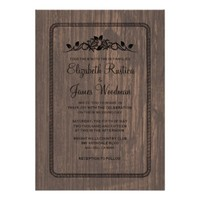 Black Vintage Barn Wood Wedding Invitations