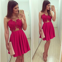 Hot Sale Sexy Prom Dress Red V-neck Lace Patchwork One Piece Dress [6338962369]