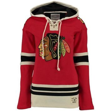 Women's Chicago Blackhawks Old Time Hockey Red Lacer Heavyweight Pullover Hoodie