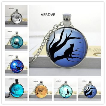 Glass Cabochon Round Blue Moon Necklaces  Moon Cat Galaxy Round Crystal Pendant