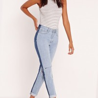 Missguided - Riot High Rise Contrast Jeans Blue