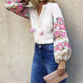 Autumn Embroidered Fringe Blouse Top
