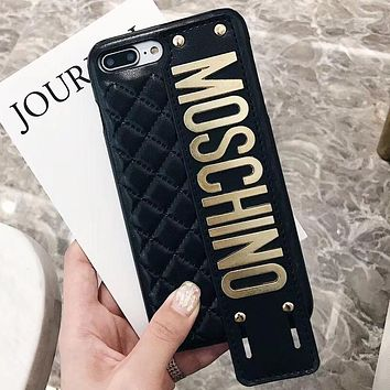 Moschino Tide brand wristband iPhone8 mobile phone case cover Black