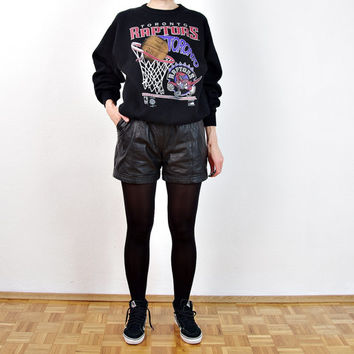 90s Black Leather Shorts with Pockets. High Waisted Pants. Size S/M