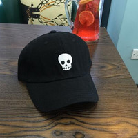 ALIEN SKULL HEAD Baseball Hat Curved Bill Low Profile Embroidered Baseball Cap Black Strapback Dad Hat
