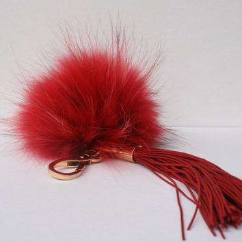 New bag tassel charm red Raccoon Fur Pom Pom bag pendant with deep red tassel