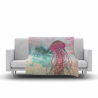 "Mat Miller ""Jellyfish"" Teal Illustration Fleece Throw Blanket"