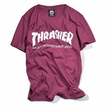 New Thrasher T Shirt Men Women Skateboards Tee Short Sleeve Skate T shirts Tops Hip Hop T shirt homme Man trasher T shirts