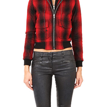 R13 Plaid Zip Hoody Bomber