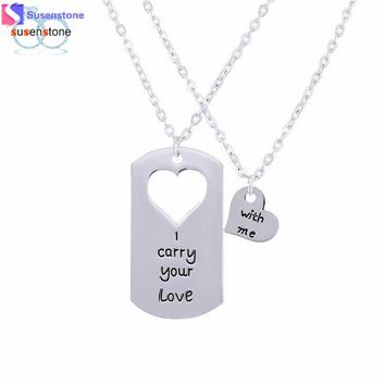 SUSENSTONE I Carry You Love With Me Couple Key Chain Necklace pendant