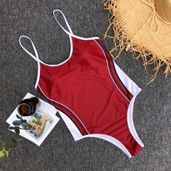Vertical Striped Patchwork Sport Women One Piece Swimsuit Adjustable Straps Red Swimming Bodysuits Solid Sexy Femme Swimwear L17