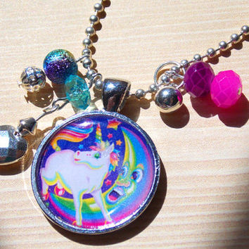 Silver Plated Pendant and Necklace - Lisa Frank 80's Rainbow Unicorn w/ Beads and Charms