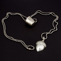 Peter Pan Kiss Thimble & Acorn Couples Necklaces - Set of 2, Silver Tone