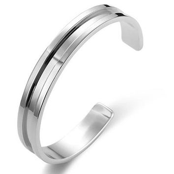 Fashionable Stainless Steel Roman Bangle Cuff Bracelet for Men's by Ritzy