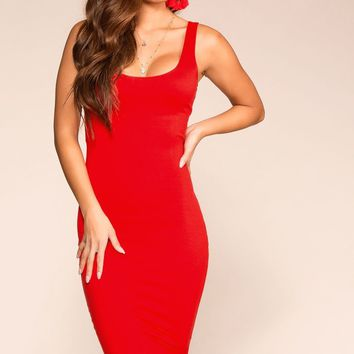 Cassandra Red Midi Bodycon Dress
