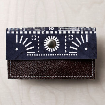 Card Holder London House Pattern Leather Navy Blue with White No. CH-102