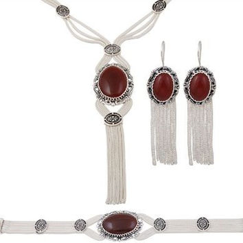 Silver Telkari Jewelry Set with agate onyx