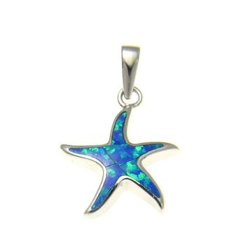 925 Sterling Silver Rhodium Hawaiian Sea Star Starfish Blue Opal Pendant Charm