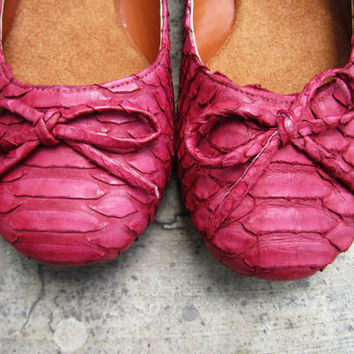 NEON FLATS - Red Pink Maroon Python Snakeskin Leather Shoes Ballet Flats with Ribbon