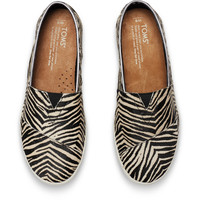 ZEBRA PRINTED CALF HAIR WOMEN'S AVALON SLIP-ONS