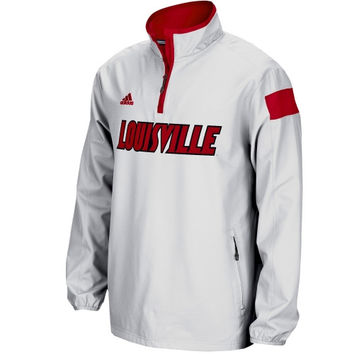 Louisville Cardinals adidas 2014 Football Sideline Coaches Quarter-Zip Long Sleeve Woven Jacket - White