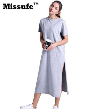 Missufe Casual Loose T-shirt Dress  Summer Style Women Clothing High Split Straight Midi Tunic Sarafan Beach Robe