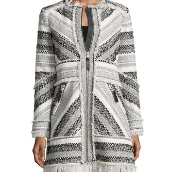 Artisan Chevron-Knit Fringe-Trim Coat, Black/White, Size: