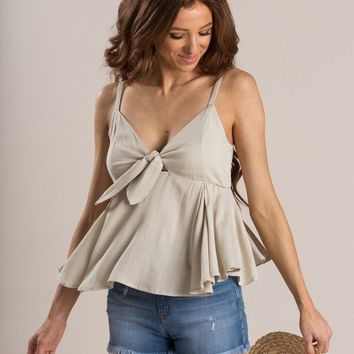 Coco Taupe Tie Front Peplum Cami