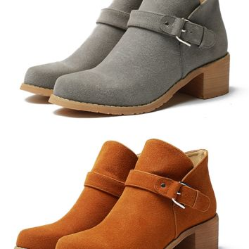 Womens Trendy Ankle Strap Moto Heel Boots