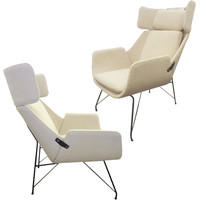 A Very Rare Pair of Mid Century Modern Lounge Chairs by Augusto Bozzi for Saporiti