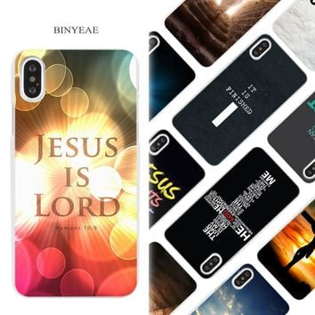 BINYEAE Christian Jesus Bible Verse Hard White Phone Case Cover Coque Shell for iPhone X 6 6S 7 8 Plus 5 5S SE 4 4S 5C