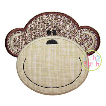 """Monkey Face 2 Applique, In Hoop size(s) 4x4, 5x7, and 6x10, Shown with our """"Bridgetown"""" font NOT Included, INSTANT DOWNLOAD now available"""
