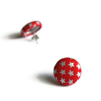 Stars Silver Red Wonderwoman Inspired Fabric Covered Button Earrings