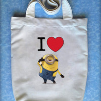 I Love Minions, Despicable Me Tote Bag 'HandPainted'