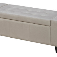 Seaford Beige Storage Ottoman Bench