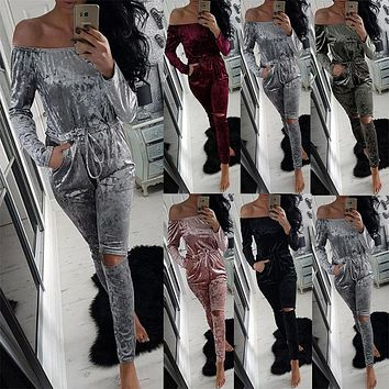 2017 Women Winter Romper Series Fashion Sexy Playsuits Autumn Bodysuits Velour Hollow Out Jumpsuits For Women