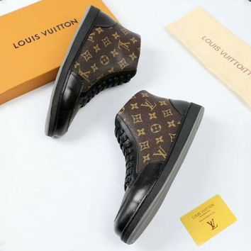 LV Louis Vuitton Autumn and winter classic old flower tie men's high-top casual shoes F-OMDP-GD coffee