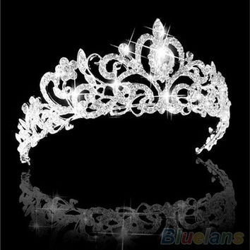 Wedding Bridal Princess Austrian Crystal Prom Hair Tiara Crown Veil Headband Silver [7983584391]