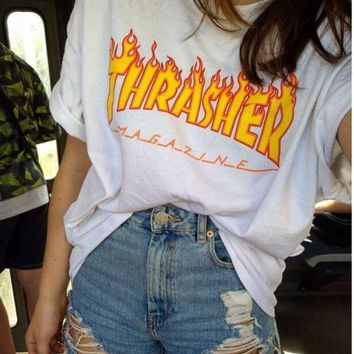 LMFOP7 Thrasher Magazine Flame Personality T-Shirt Print Short Sleeve Top