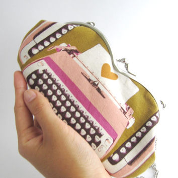 Cross body bag- sunglasses case- pink typewriter