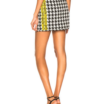 OFF-WHITE Pied de Poule Mini Skirt in All Over Houndstooth & Yellow | FWRD