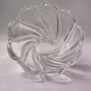 Vintage Mikasa Lead Crystal Glass Bowl Frosted Swirl, Vintage Candy Dish, Vintage German Crystal Bowl, Vintage Candle Holder