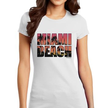 Miami Beach - Sunset Palm Trees Juniors T-Shirt by TooLoud