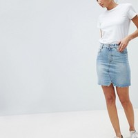 ASOS DESIGN Tall denim pelmet skirt in lightwash blue at asos.com