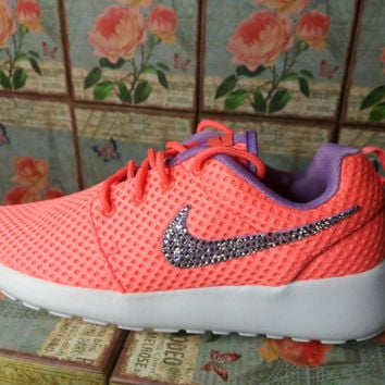 blinged nike roshe run br coral color with purple swooshes customized with swarovski crystal rhinestones