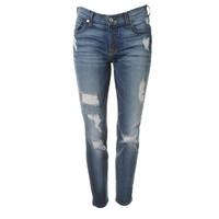 7 For All Mankind Womens Low-Rise Denim Ankle Jeans