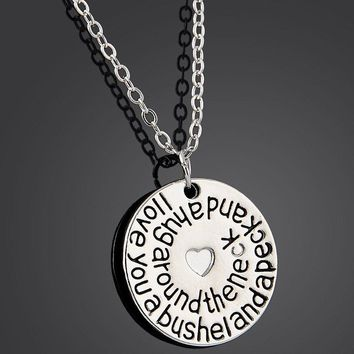 I Love You A Bushel And A Peck And A Hug Around The Neck Heart Charm Pendant Necklace Lovers Women Men Jewelry Gift Silver Chain